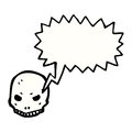 Spooky skull symbol with speech bubble Royalty Free Stock Images