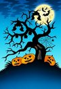 Spooky tree with bats and pumpkins Royalty Free Stock Photo