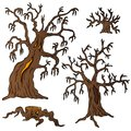 Spooky trees collection vector illustration Royalty Free Stock Images