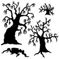 Spooky trees silhouette collection vector illustration Royalty Free Stock Photo