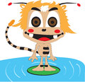Spooky wants to play and have fun on the water surface Royalty Free Stock Photos