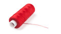 Spool of red thread on a white background Stock Image