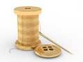 Spool of thread, needle and button Stock Image