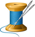 Spool of thread and needles Royalty Free Stock Photo