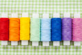 Spools of colorfull thread skein collection top view Royalty Free Stock Photos