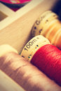 Spools of thread close up in a retro vintage style vertical image Royalty Free Stock Photos