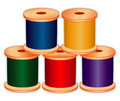 Spools of Thread in Jewel Tones Stock Photos