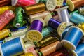 Spools of thread a mixture colourful exposed for sale Stock Image