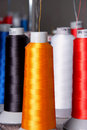 Spools of threads different color Royalty Free Stock Images
