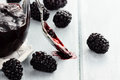 Spoon and Blackberry Jam Royalty Free Stock Photo