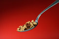 Spoon filled with cornflakes Royalty Free Stock Photo
