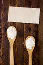 Spoon with flour and starch two wooden kitchen Stock Photo