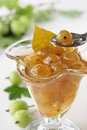 Spoon of green gooseberry jam in glass and branch Stock Photos