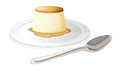 A spoon beside a plate with a leche flan illustration of on white background Royalty Free Stock Image
