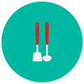 Spoon and spatula cute icon in trendy flat style on color background. Kitchenware symbol for your design, logo, UI. Vecto