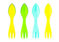 Spoons plastic colorful isolated on white background Stock Photo
