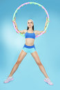 Sport active shapely sportswoman with hoop sporty Stock Images