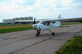Sport aircraft on the runway Royalty Free Stock Photo
