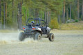 Sport atv driving fast vehicle on speed Stock Images
