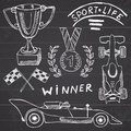 Sport auto items doodles elements. Hand drawn set with Flag icon. Checkered or racing flags first place prize cup. medal, rasing c Royalty Free Stock Photo