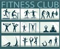 Abstract active people silhouettes in fitness club Royalty Free Stock Photo