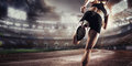 Sport Backgrounds.  Soccer stadium and running track. 3d render Royalty Free Stock Photo