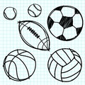 Sport ball hand draw on  graph paper. Royalty Free Stock Photo