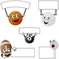 Sport Balls and Blank Signs [2] Royalty Free Stock Photo