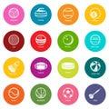 Sport balls equipment icons set colorful circles vector Royalty Free Stock Photo