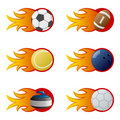 Sport Balls in Flames [2] Royalty Free Stock Photo