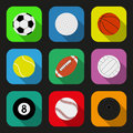 Sport balls flat icons set eps vector illustration Stock Photo
