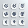 Sport balls icon set - vector white app buttons Royalty Free Stock Photo