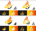 Sport balls icons with fire and swoosh graphic elements Stock Images