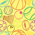 Sport balls pattern vector illustration of a sketch seamless background Stock Photography