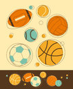 Sport balls set of in retro styled Stock Photos