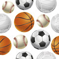 Sport balls set seamless pattern vector illustration Stock Images
