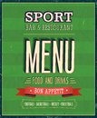 Sport bar menu vector illustration Royalty Free Stock Photo