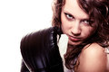Sport boxer woman in black gloves fitness girl training kick boxing martial arts or emancipation idea concept showing her power Royalty Free Stock Photos
