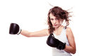Sport boxer woman training kick boxing martial arts in black gloves fitness girl isolated on white studio shot Royalty Free Stock Photos