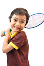 Sport boy play badminton on white background Stock Photos