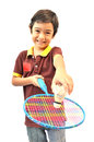 Sport boy play badminton on white background Royalty Free Stock Photo