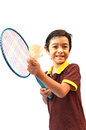 Sport boy play badminton on white background Royalty Free Stock Image