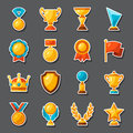 Sport or business award sticker icons set Royalty Free Stock Photo