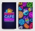 Sport Cafe Menu Vertical banners. Design Template, Sports Cafe Menu Neon sign, neon background, light banner, bright Royalty Free Stock Photo