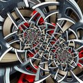 Sport car automobile wheel abstract fractal brake disk tire close up double spiral effect pattern background. Automotive abstract Royalty Free Stock Photo