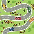Sport car drivers overcome the track in front of the fans seamless pattern.