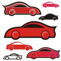 Sport cars icon set of seven red and black icons Stock Photos