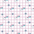 Sport child seamless pattern background with whistle and ball.