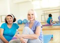 In sport club portrait of aged women looking at camera Royalty Free Stock Photography