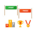 Sport competition flat icon set with Start Finish Royalty Free Stock Photo